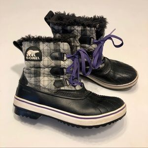 Sorel Women's Plaid Black & White Winter Boots